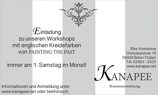 Werbung Painting the Past Workshops im Kanapee